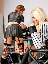 Two office chicks making lesbian love
