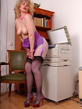 The secretary in black colored stockings over hose